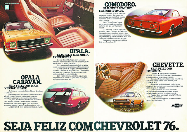 Propaganda da Chevrolet em 1976 apresentando sua linha de automóveis para aquele ano.