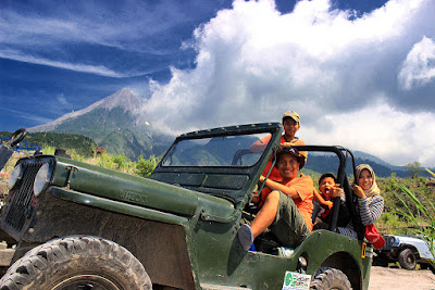 Merapi Lava Tour using old Jeep Willys in Kaliadem-Sleman , Jogjakarta