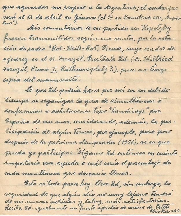 Carta de Eliskases a Francino en 1955 - 2