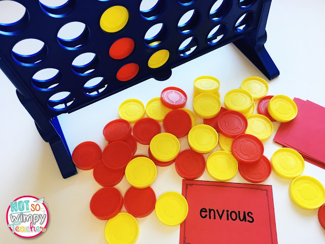 Connect Four is a great game to use for teaching vocabulary, especially since most kids will already know how to play the game
