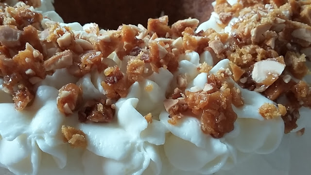 Spice Bundt Cake with Lemon Cream and Peanut Brittle topping