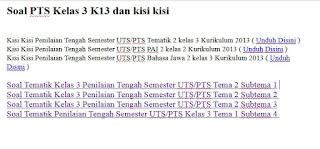 Soal PTS Kelas 3 K13 dan kisi kisi