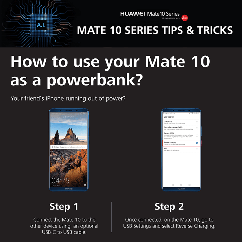 Mate 10 as a power bank