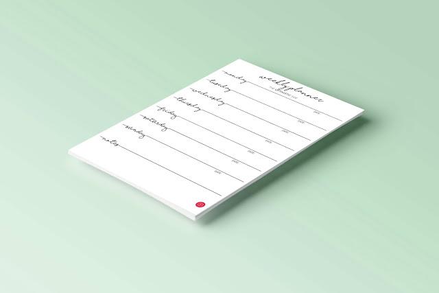 Planificador semanal descargable gratuito vertical en blanco y negro