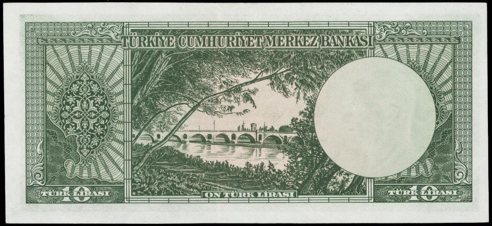 10 Turkish Lira note 1960