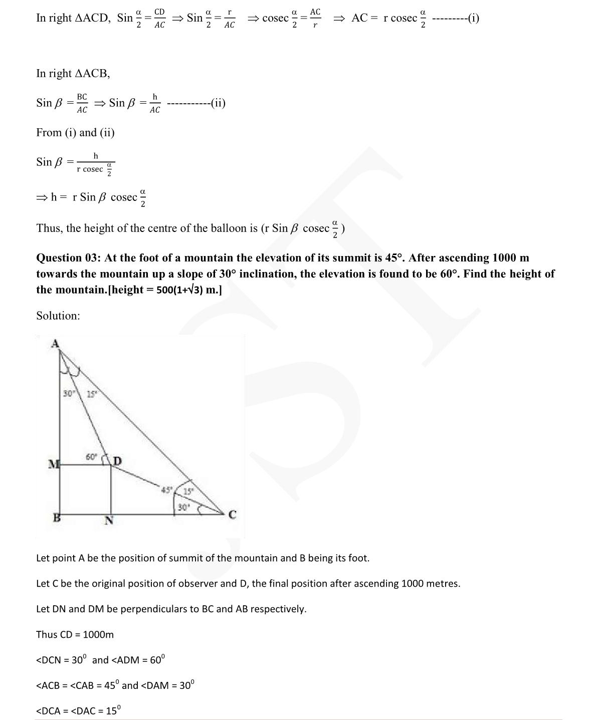 Maths Extra Questions For Class 10 Cbse Trigonometry