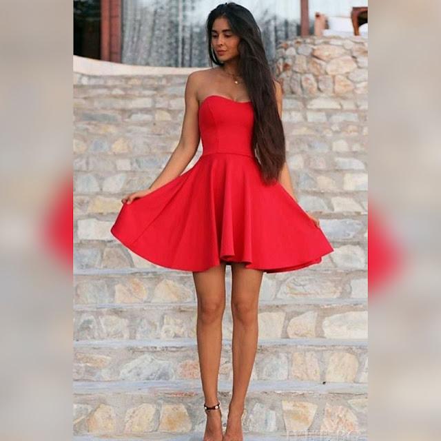 Strapless κοντό κόκκινο φόρεμα MODENA
