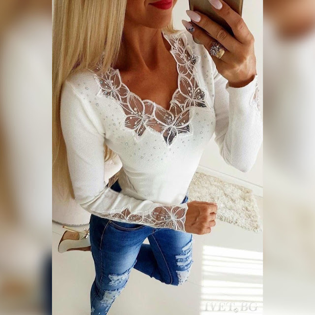 Μεσάτη γυναικεία άσπρη μπλούζα LORIANA