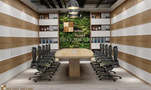 Thiết kế nội thất phòng họp độc đáo, ốp tường cho không gian phòng họp mang đến vẻ hài hòa, thân thiện cho căn phòng