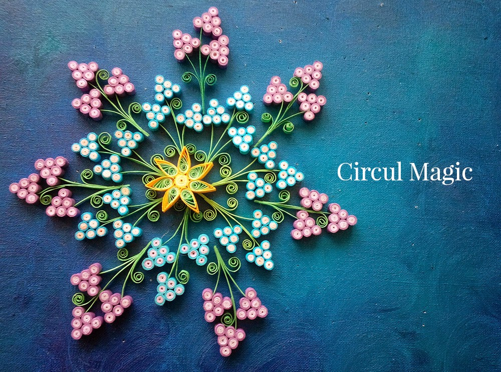 Quilling kaleidoscope cu muscari zambilute Circul Magic