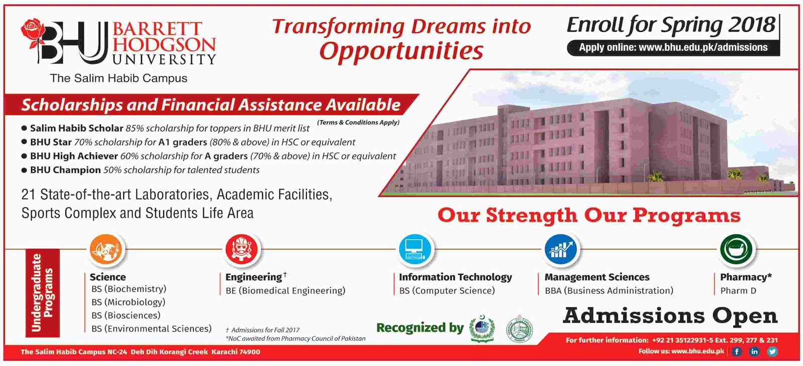 Admissions Open in Barrett Hodgson University Karachi