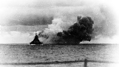 May 24 1941 Bismarck firing during the Battle of the Denmark Strait