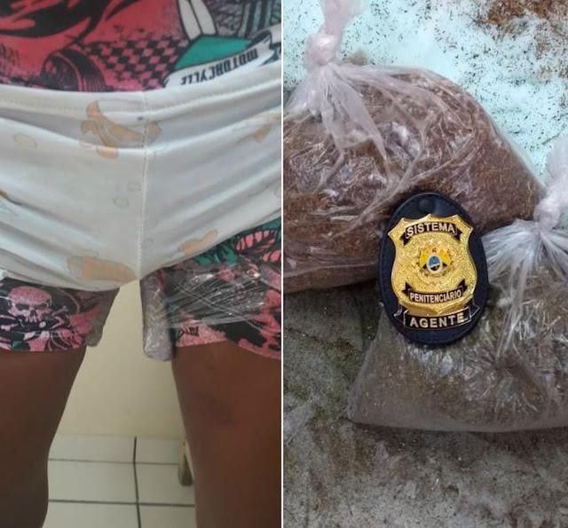 Mulher prende droga às coxas com fita adesiva para tentar entrar no presídio em Cruzeiro do Sul