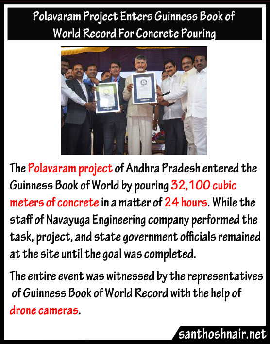 Polavaram Project enters Guinness book of World Record for Concrete Pouring