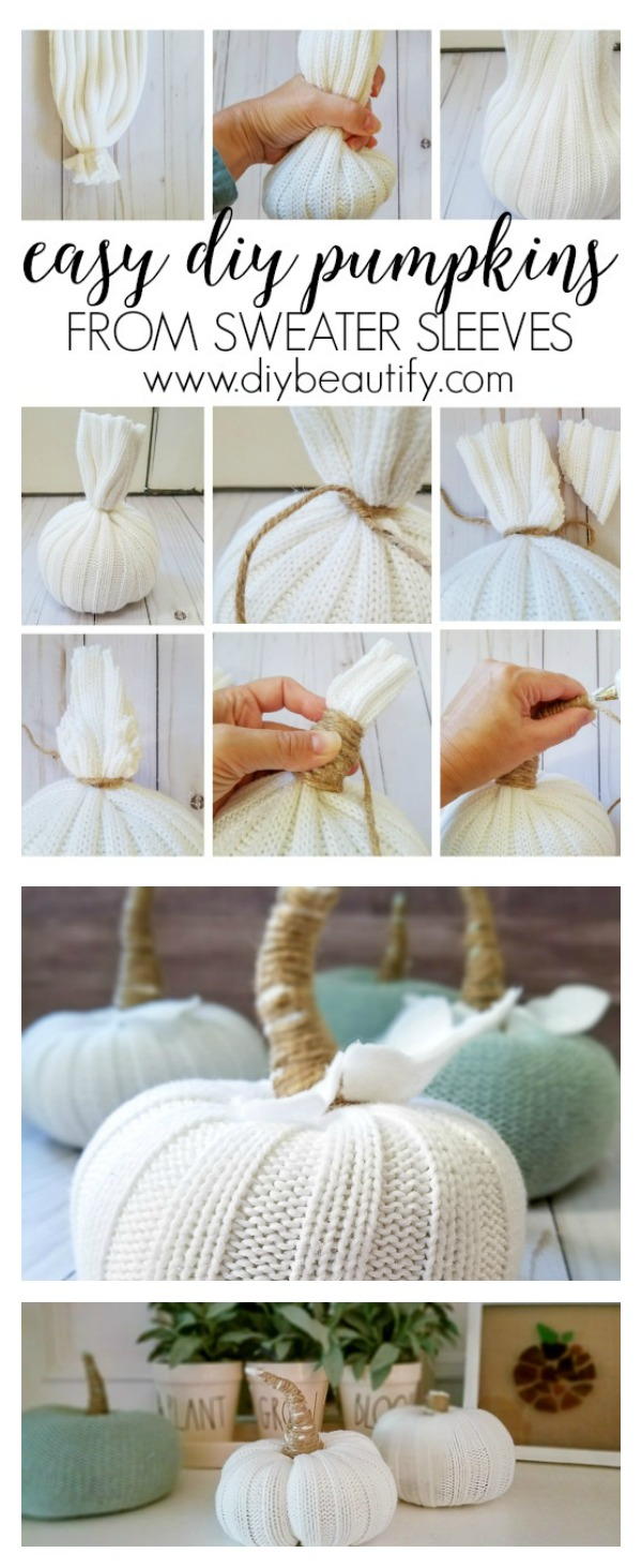 how to make sweater pumpkins, step by step