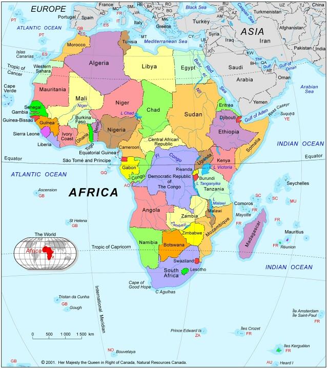 africa karta map of africa with landforms africa karta