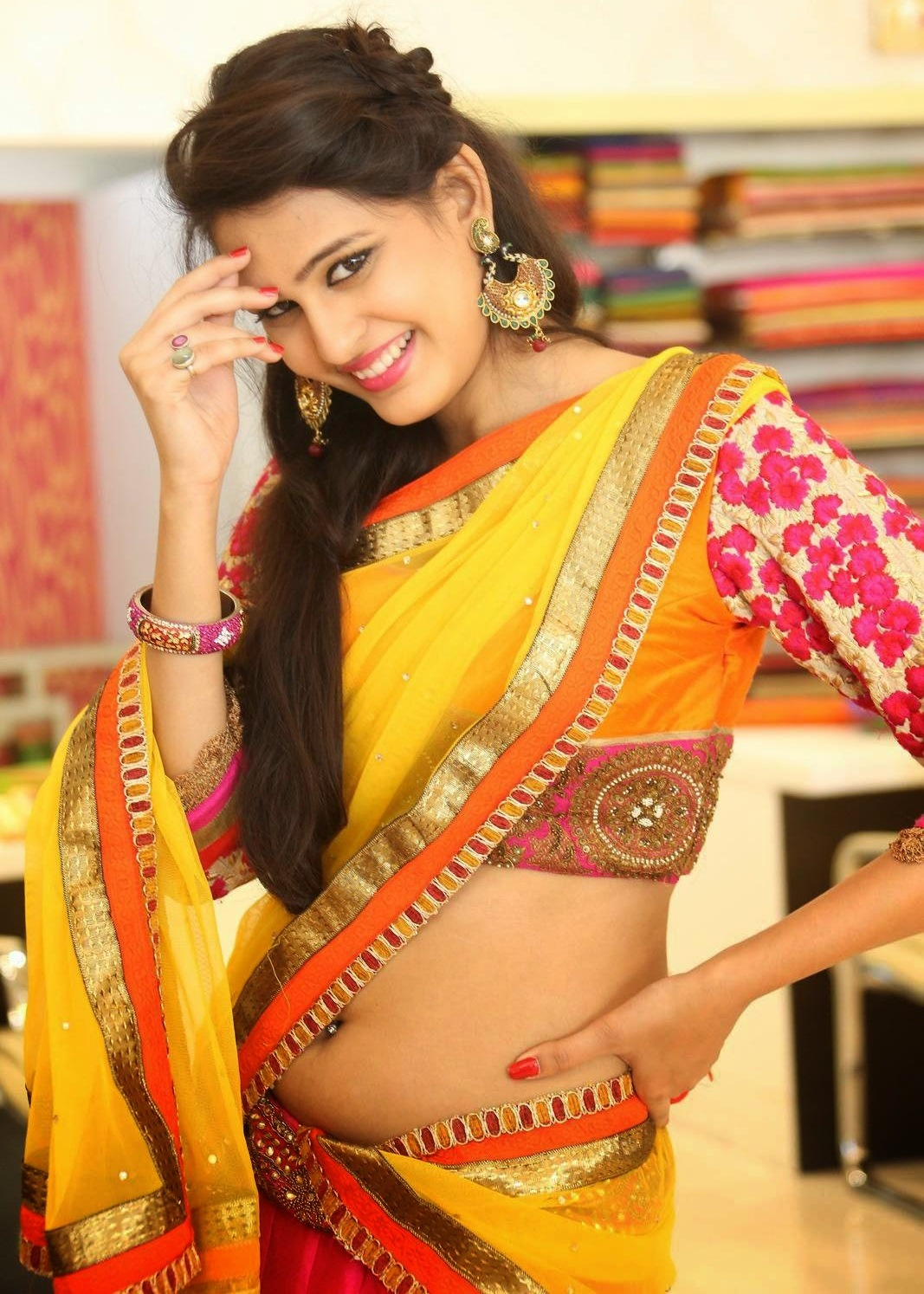 Actress Shweta Jadhav Navel Show In Yellow Half Saree