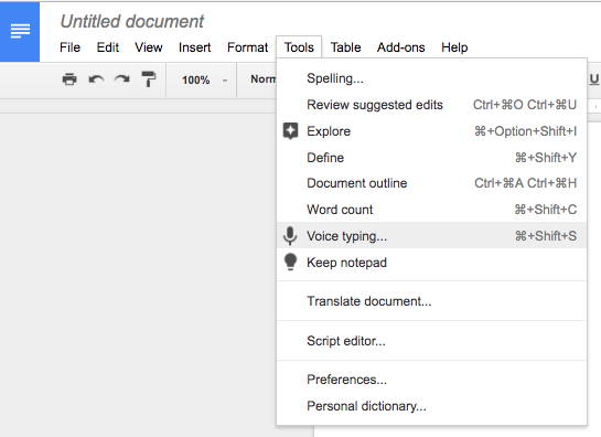 Picture of Voice Typing in Google Docs menu.