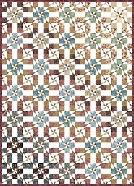 Three strip pinwheel quilt pattern