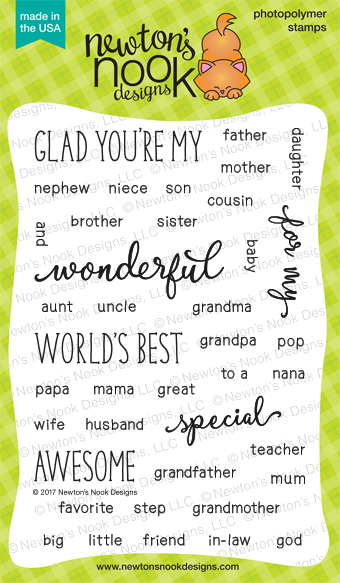 Simply Relative | Family Sentiment Stamp Set by Newton's Nook Designs #newtonsnook