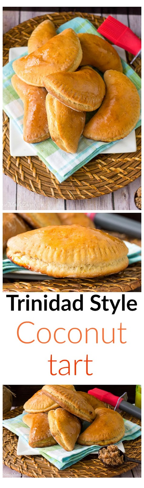 "Trinidad Style Coconut Tart - A common Trinidad and Tobago baked pastry stuffed with blended coconut ""stewed"" with additional spices like cinnamon, nutmeg and ginger. #Caribbean, #Trinidad"