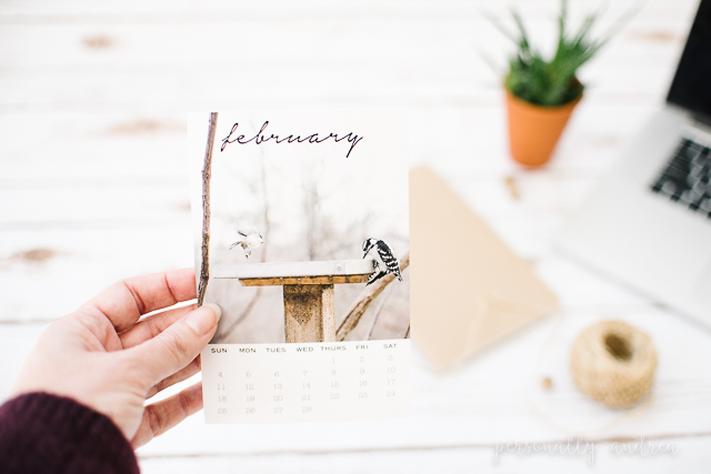 Free Printable February Photo Calendar Card