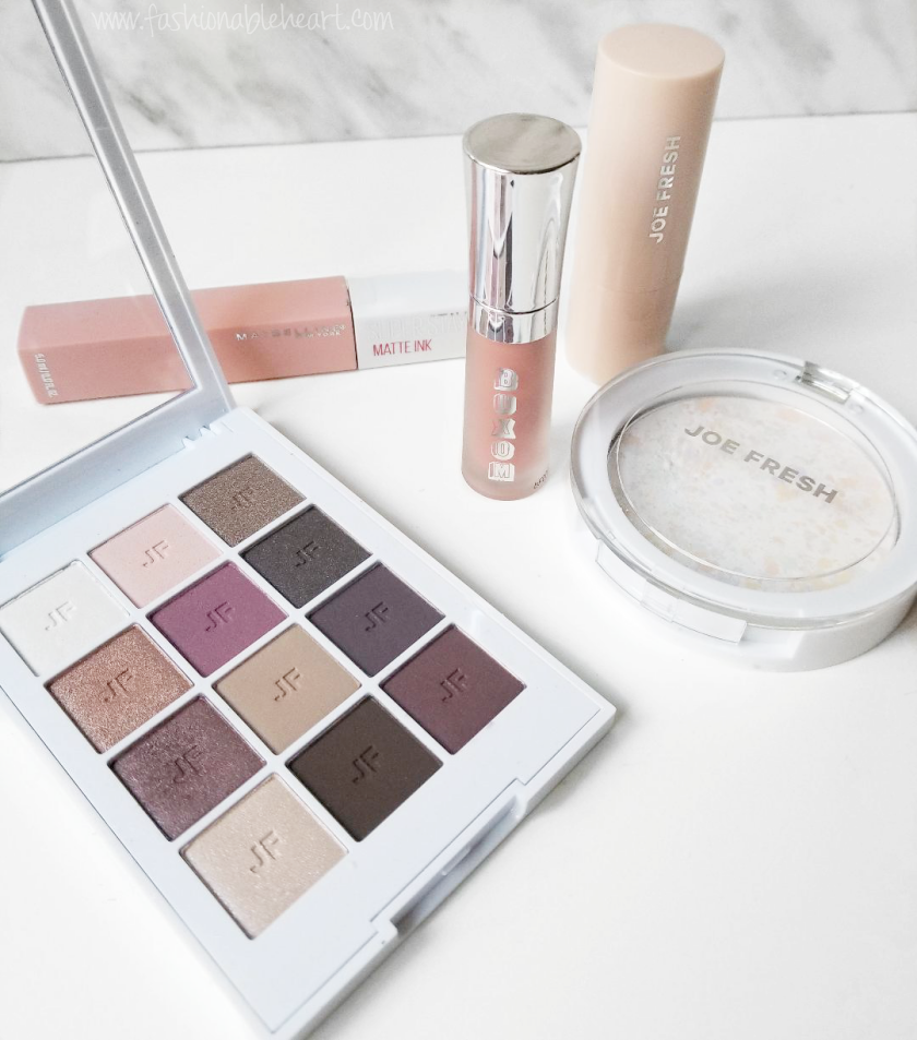 bbloggers, bblogger, bbloggerca, canadian beauty blogger, beauty blog, beauty favorites, october 2018, joe fresh, joe fresh beauty, highlighter stick, pure glow, buxom, gloss, white russian, maybelline, superstay, matte ink, loyalist, rose neutrals, eyeshadow palette, cc powder, color correcting, compact