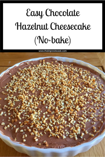 Whole Chocolate Hazelnut Cheesecake  in a white dish with text
