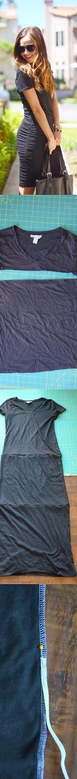 DIY hacer un vestido fácil con 3 camisetas y un elástico