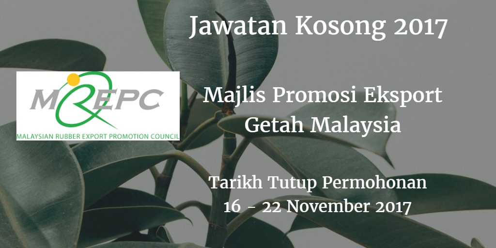 Jawatan Kosong MREPC 16 - 22 November 2017