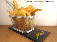 Boquerones al aroma de los cítricos en tempura