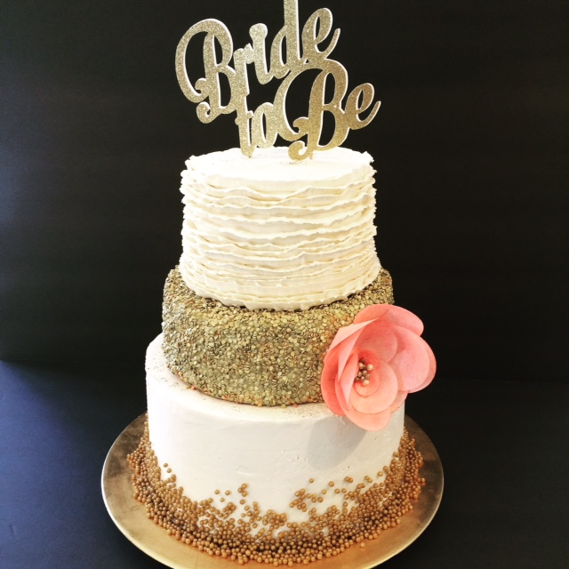 Gold Confetti And Cream Wedding Cake Bridal Shower