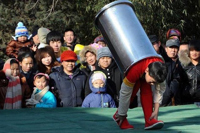 Little kid doing circus