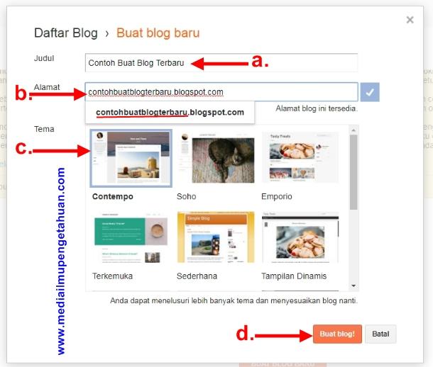 Panduan membuat blog baru di blogger