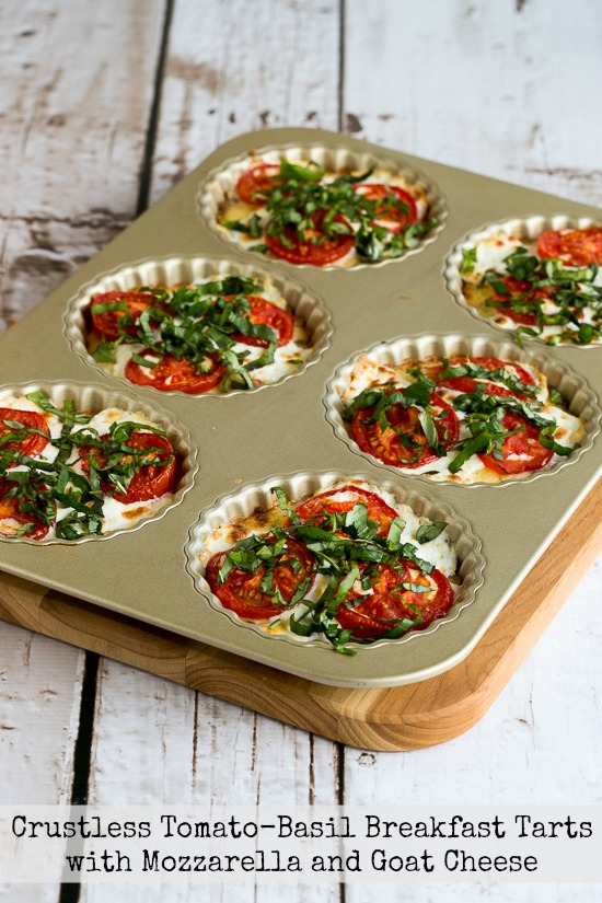 Crustless Tomato-Basil Breakfast Tarts with Mozzarella and Goat Cheese, featured for Low-Carb Recipe Love on Fridays  on KalynsKitchen.com