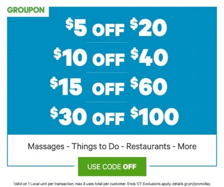 Groupon Flash Sale Up To $30 Off Promo Code