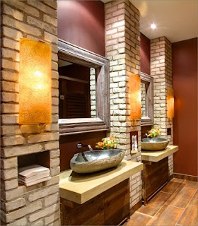 baño paredes ladrillo visto
