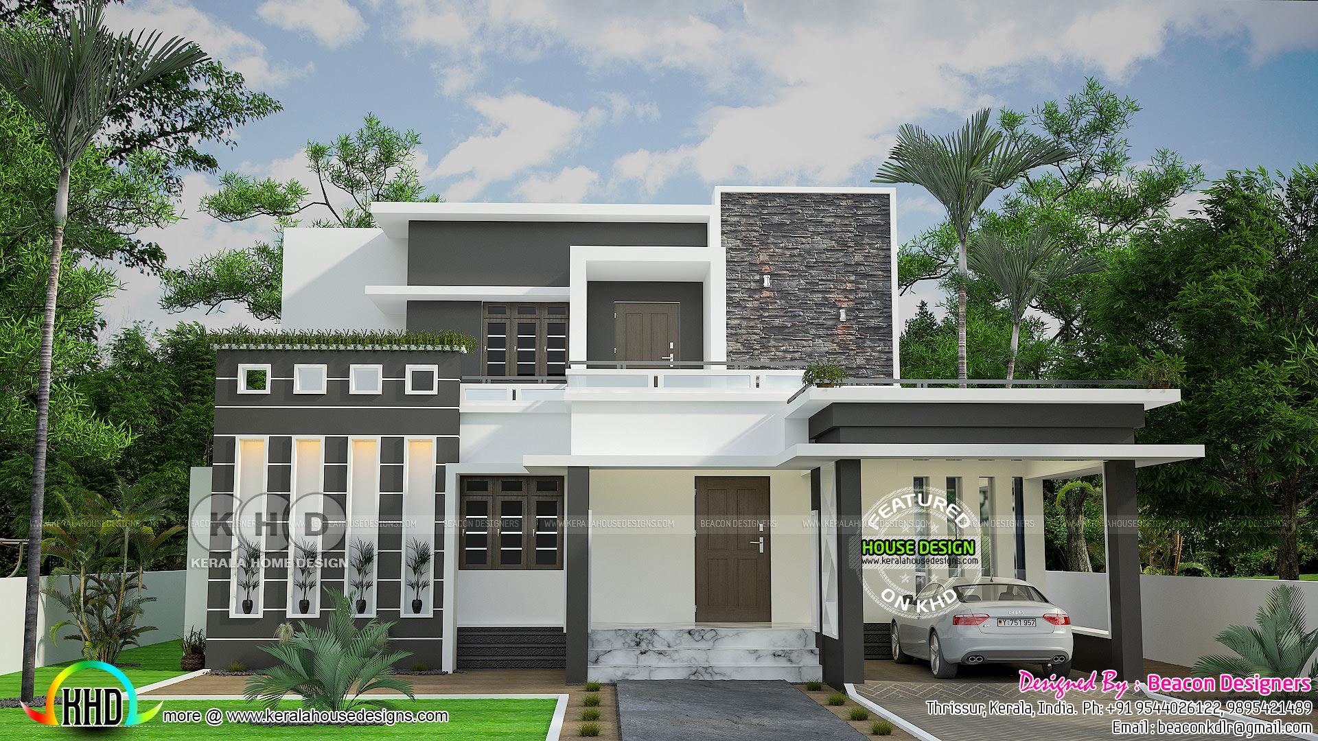 Grand sober colored contemporary house kerala home for Grand designs modern house