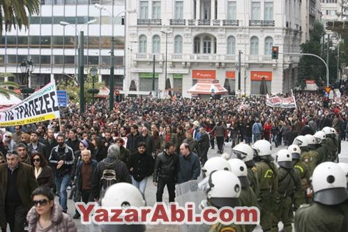 Yunanistan da Göçmen Protestosu yapıldı