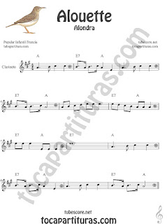 Clarinete Partitura de Alouette (Alondra) Canción infantil Sheet Music for Clarinet Music Score