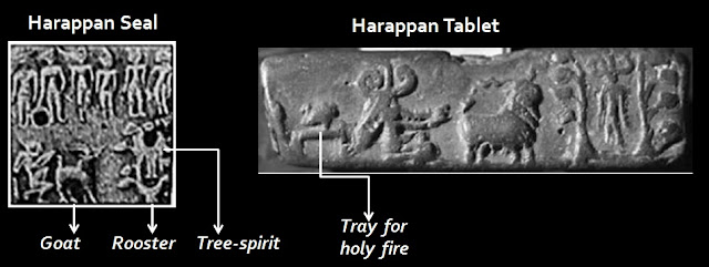 Harappan Seals and tablets depicting the worship of the tree-spirit through the offerng of a holy fire and goat sacrifice