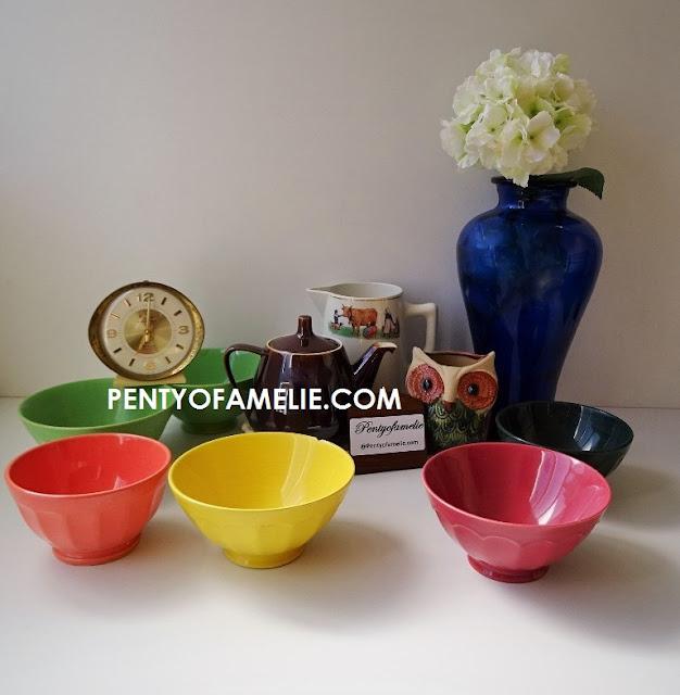 Antique Vintage Coffee Bowls by Moulin des loups, Villeroy Boch, Ternana  and blue cobalt vase