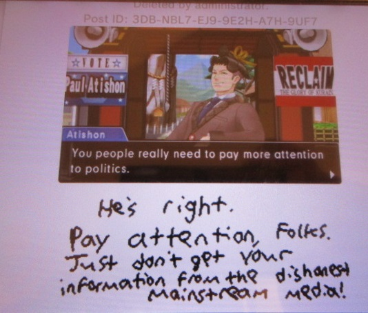 Paul Atishon pay more attention to politics deleted Miiverse post Phoenix Wright Ace Attorney Spirit of Justice