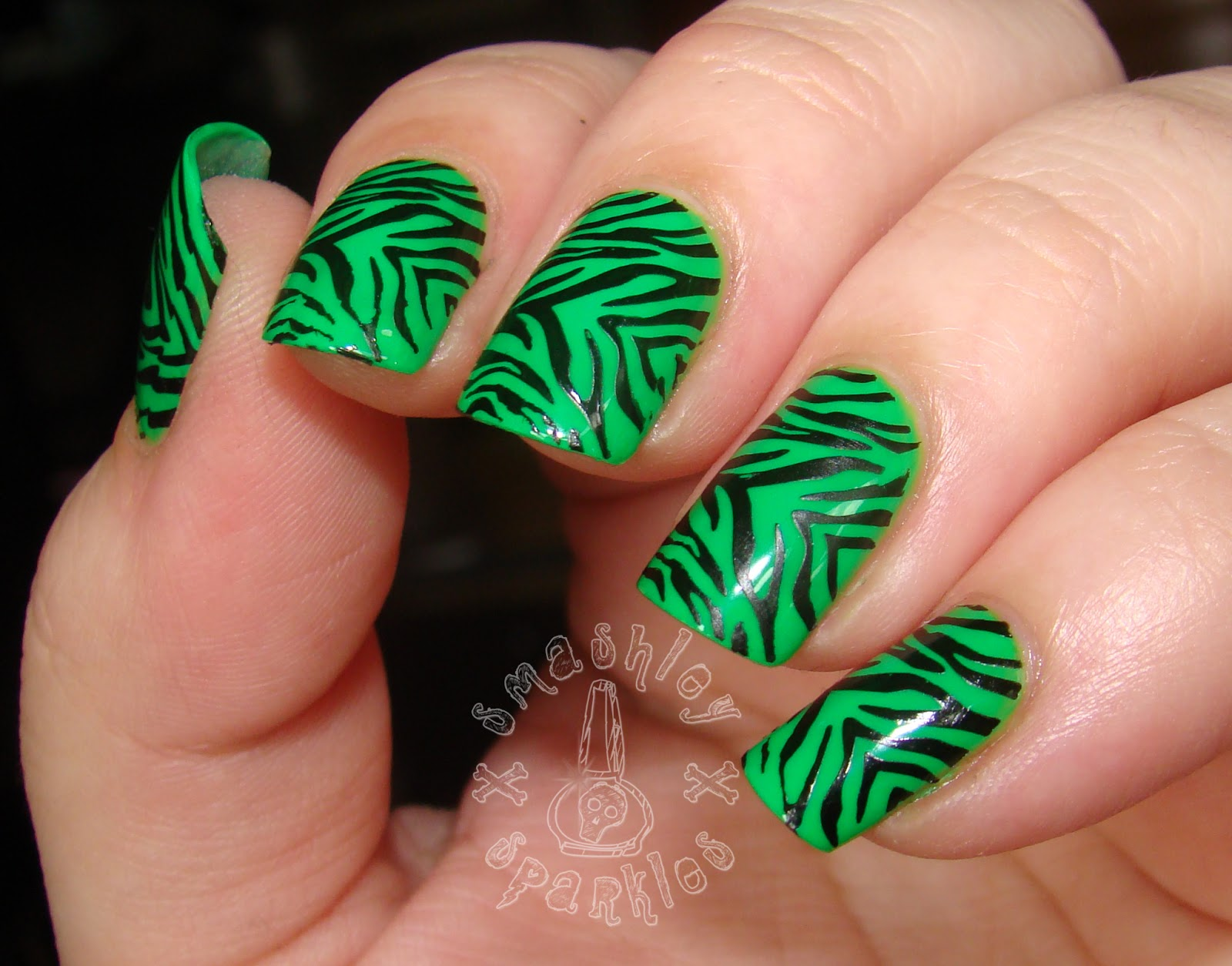 Lime Green And Black Nail Designs