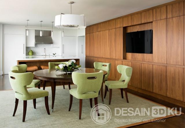 Desain Ruang Makan Modern Terkini Dengan Nuansa Kursi Warna Hijau