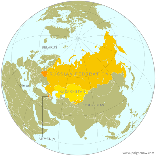 Map of the Eurasian Economic Union (EEU), also known as the Eurasian Union. Includes new member Kyrgyzstan, as well as prior members Russia, Belarus, Kazakhstan, and Armenia, and disputed territory Crimea