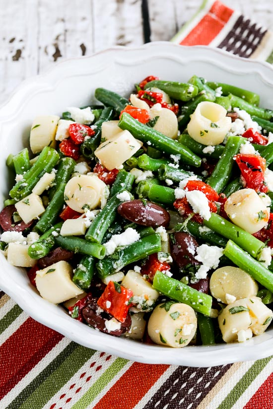 Green Bean Salad with Hearts of Palm, Olives, Red Pepper, and Feta found on KalynsKitchen.com