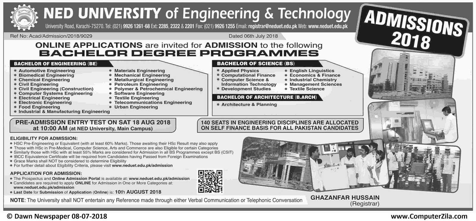 NED University of Engineering & Technology Admissions Fall 2018