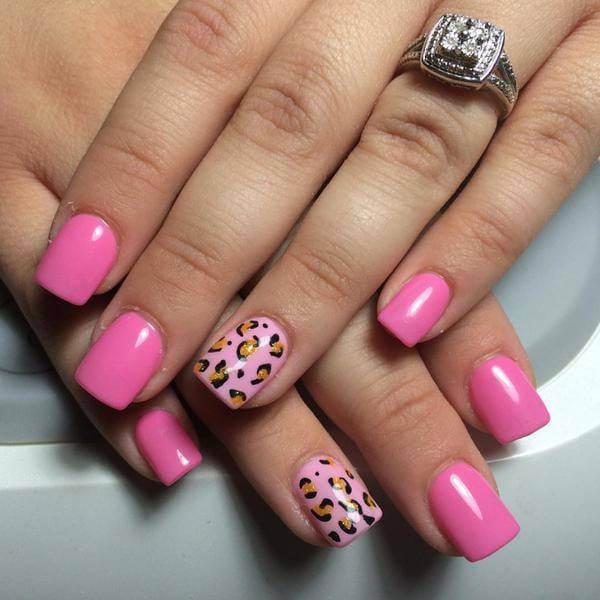 Pink Acrylic Rudolph  Nails