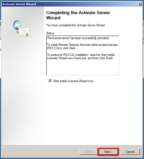 Completing the Actiate Server Wizard.